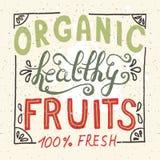 Organische gesunde Hand skizzierte Beschriftung der frischen Frucht Stockbild