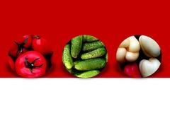 Organische groenten binnen drie cirkels Royalty-vrije Stock Afbeeldingen