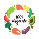 organische 100 - hand het getrokken van letters voorzien Rond kader van groenten, noten en gezond voedsel Keto voeding Ketogenic  stock illustratie