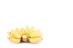 Organische Hand von goldenen Bananen auf weißer Hintergrund dem gesunden Fruchtlebensmittel Pisang Mas Banana lokalisiert Stockbilder
