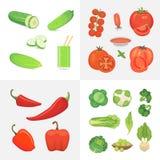 Organische het voedselillustratie van de landbouwbedrijfveganist De gezonde elementen van het levensstijl vectorontwerp Vectorgro Royalty-vrije Stock Foto's