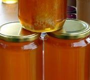 Organische honing in kruiken op een markt Stock Fotografie