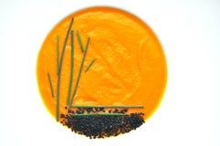 Organische Karottensuppe auf einem weißen Hintergrund Stockfotos