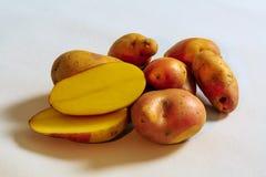 Organische Kartoffeln vom Landwirtmarkt auf Segeltuch Lizenzfreie Stockbilder
