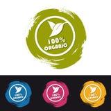100% organische Knöpfe mit den Blättern - bunte Vektor-Pinselstriche - lokalisiert auf Schwarzweiss-Hintergrund lizenzfreie abbildung