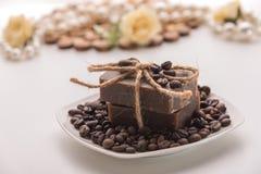 Organische koffiezeep Royalty-vrije Stock Afbeeldingen