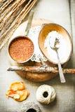 Organische kokospalmsuiker in metaal, kokosnotenvlokken in shell Royalty-vrije Stock Afbeeldingen