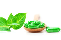 Organische kruiden groene geneeskundecapsule Royalty-vrije Stock Foto