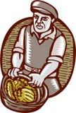 Organische Landbouwer Harvest Basket Woodcut Linocut Stock Foto
