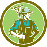 Organische Landbouwer Rake Woodcut Retro Royalty-vrije Stock Foto's
