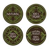 Organische natuurlijke die en ecopictogrammen met tekst Natuurlijk product worden geplaatst Stock Fotografie