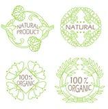 Organische natuurlijke die en ecopictogrammen met tekst Natuurlijk product worden geplaatst Stock Foto's