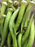 Organische oogst van okra klaar voor het koken stock afbeelding