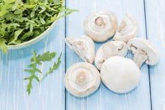 Organische paddestoelen Natuurlijke voeding Verse paddestoelen in de handen Stock Afbeeldingen