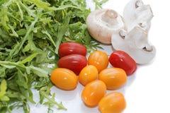 Organische paddestoelen Natuurlijke voeding Verse paddestoelen en arugulasalade, kersentomaten Stock Fotografie