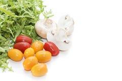 Organische paddestoelen Natuurlijke voeding Verse paddestoelen en arugulasalade, kersentomaten Royalty-vrije Stock Fotografie