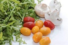 Organische paddestoelen Natuurlijke voeding Verse paddestoelen en arugulasalade, kersentomaten Stock Foto