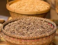 Organische padie in de geweven bamboemand Royalty-vrije Stock Foto's