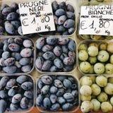 Organische Pflaumen am Markt stockbild