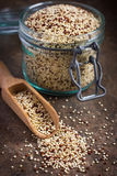 Organische quinoa igrain in glaskruik Stock Foto