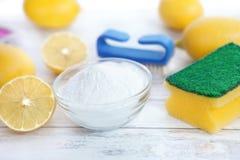 Organische Reiniger, Zitrone und Backnatron lizenzfreies stockfoto