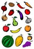Organische rijp cartooned groenten en vruchten stock illustratie