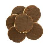 Organische rijstkoekjes met melkchocolasuikerglazuur Stock Afbeelding