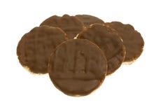 Organische rijstkoekjes met melkchocolasuikerglazuur Royalty-vrije Stock Foto