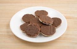 Organische rijstkoekjes met melkchocolasuikerglazuur op plaat Stock Foto