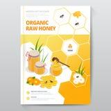 Organische ruwe honings designe brochure Abstracte samenstelling A4 het ontwerp van de brochuredekking van honing Het buitenspori Royalty-vrije Stock Afbeeldingen