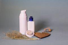 Organische schoonheidsmiddel en ingrediënten Stock Afbeelding