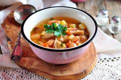 Organische Suppe DDelicious mit Huhn, Bohnen, Zwiebeln, Tomaten, Pilzen und Petersilie Lizenzfreie Stockbilder