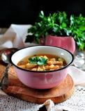 Organische Suppe DDelicious mit Huhn, Bohnen, Zwiebeln, Tomaten, Pilzen und Petersilie Stockfotos