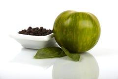 Organische Tomate des grünen Zebra Lizenzfreies Stockbild