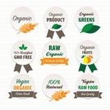 Organische und des strengen Vegetariers Lebensmittelkennzeichnungen Stockbild