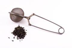 Organische ungeheftet-Grün-Teeblätter mit Infuser Lizenzfreie Stockfotos