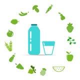 Organische vruchten en groenten Vector illustratie Stock Fotografie