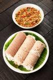 Organische witte rijstputtu van Zuiden Indische cuisin royalty-vrije stock fotografie