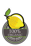 Organischer Aufkleber der Zitrone Stockfotos