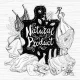 Organischer Frischmarkt des Naturproduktes, Logodesign, gesunder Lebensmittelladen lizenzfreies stockbild