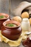 Organischer Kartoffelpudding mit Dill und Sauerrahm Lizenzfreie Stockfotografie