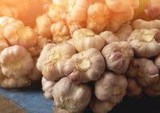 Organischer Knoblauch im lokalen Markt stockfotografie
