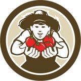 Organischer Tomaten-Landwirt Boy Circle Retro Stockbild