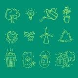 Organisches eco Ikonen der Ökologie und Bioelemente in der Hand Stockfotografie