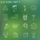 Organisches eco Zeichen der Ökologie und Bioelemente in der Hand Stockfotos