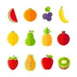 Organisches frische flaches Design der Frucht- und Beerenikonen Stockfotografie