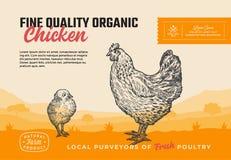 Organisches Geflügel der guten Qualität Abstrakte Vektor-Fleisch-Verpackungsgestaltung oder Aufkleber Modernes Typografie-und Han lizenzfreie abbildung