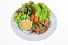 Organisches Gemüse enthält frillice Eisberg, butterhead, Tomate, Stockbild