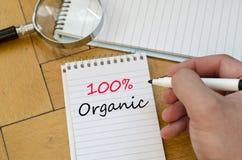 100% organisches Konzept auf Notizbuch Lizenzfreie Stockfotografie