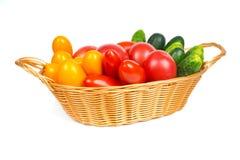 Organisches neues Lebensmittel, Tomaten und Gurken Lizenzfreies Stockbild